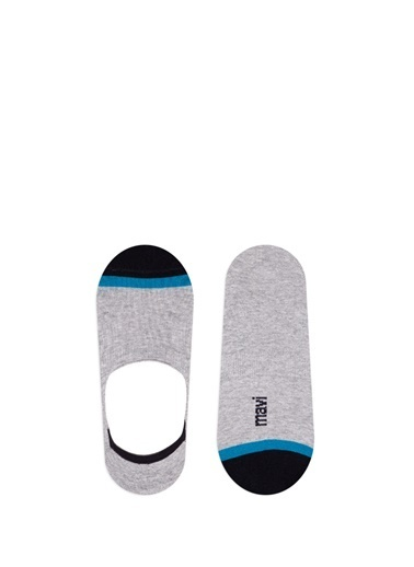 Mavi Mühür Logo Baskılı  Çorap Gri